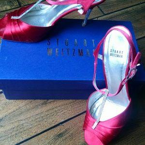 Stuart Weitzman Red Satin/Rhinestone Heels