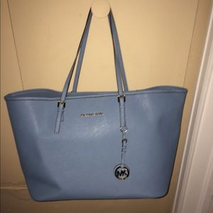 57 off michael kors handbags light blue michael kors jet set from. Black Bedroom Furniture Sets. Home Design Ideas