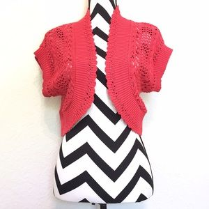 Sweaters - •HP!• Bright Coral/Pink Shawl Cardigan