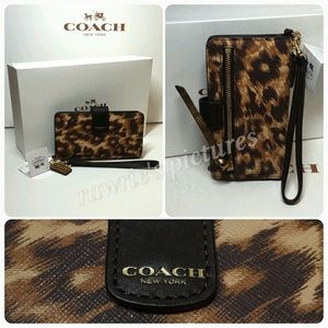 New Coach saffiano leather ocelot phone wallet