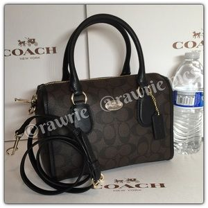 New Coach signature black brown Crossbody Satchel