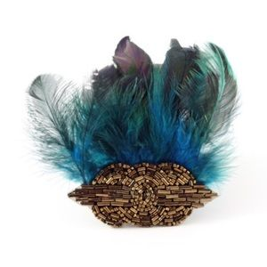 E.Kammeyer Accessories Accessories - Art Deco Beaded Applique and Feather Hair Clip