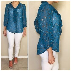 Xhilaration Tops - Blue Floral Print Sheer Chiffon Blouse