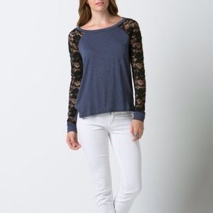 "Bare Anthology Tops - LOWEST ""Little Dreamer"" Lace Sleeve Baseball Top"