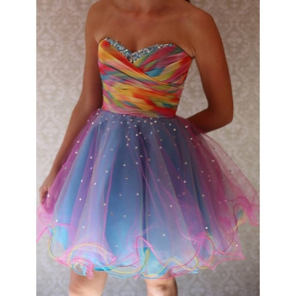 newest style of hoard as a rare commodity special promotion Mori Lee Short Rainbow Homecoming // Prom Dress