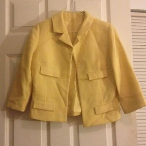 Classic Sunny Yellow White Vintage Wool Jacket S