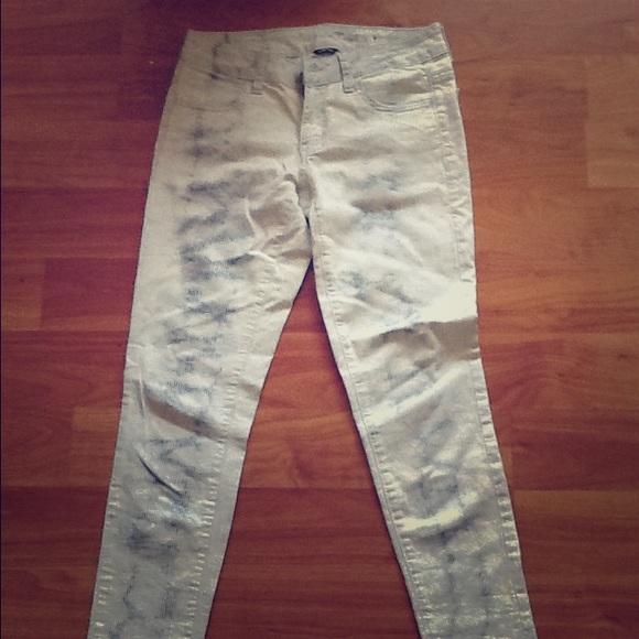 63% off Pants - Tie dye wash corduroy white blue jeans American ...