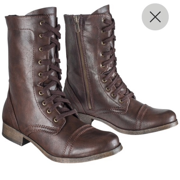 Dark Brown Combat Boots - Cr Boot