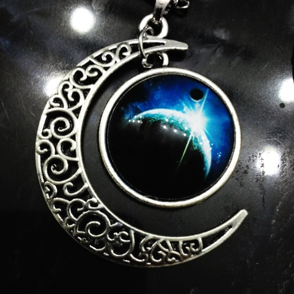 Gothic Elven Celestial Crescent Moon Pendant Os From