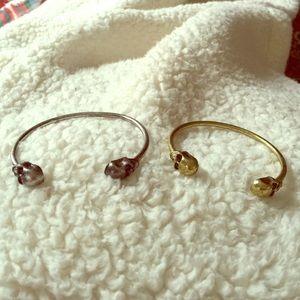 Skull bangle bracelets gold and silver