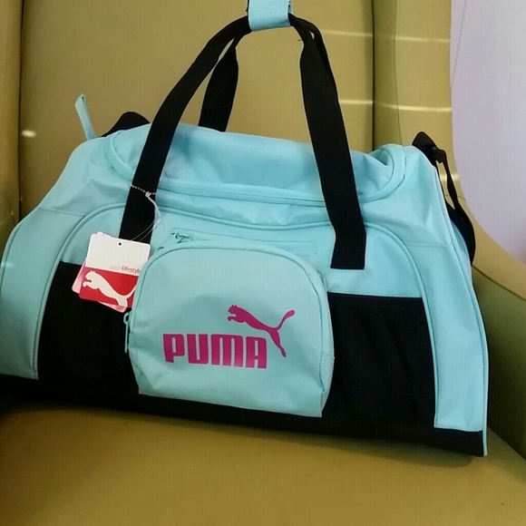 c09f974f40 Puma Bags | Nwt Aqua Tiffany Blue Hot Pink Gym Bag | Poshmark