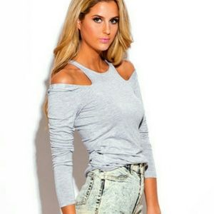 HelFyre  Tops - HEATHER GRAY COLD SHOULDER LONG SLEEVE SHIRT S M