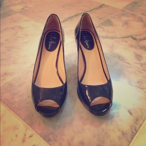 Cole Haan patent leather peep toe pumps!
