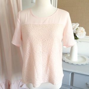 Blush Pink Floral Embossed Top