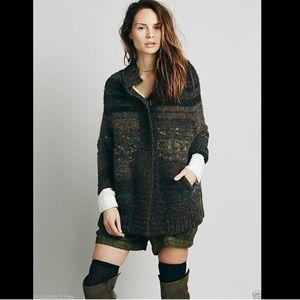 Free People gray black Sweater Coat NWT L $268