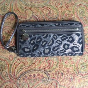 Coach metallic silver cheetah leopard print wallet
