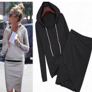 Black hoodie and skirt set (Asian medium)