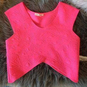 Tops - Neon hot pink crop top