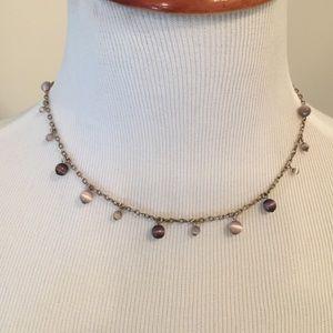 NY&Co purple drop-bead necklace.