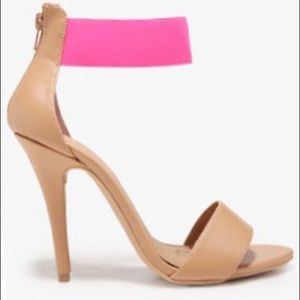 Final F21 Beige Sandals with Neon Pink Elastic 10