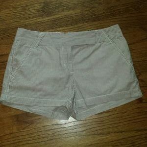 "J.Crew Factory 3"" Shorts Brown White Stripe 4 EUC"