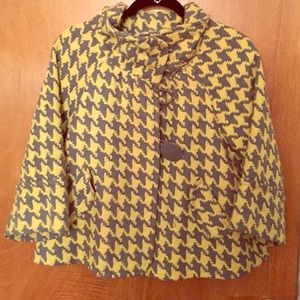 Houndstooth yellow and grey 3/4 sleeve