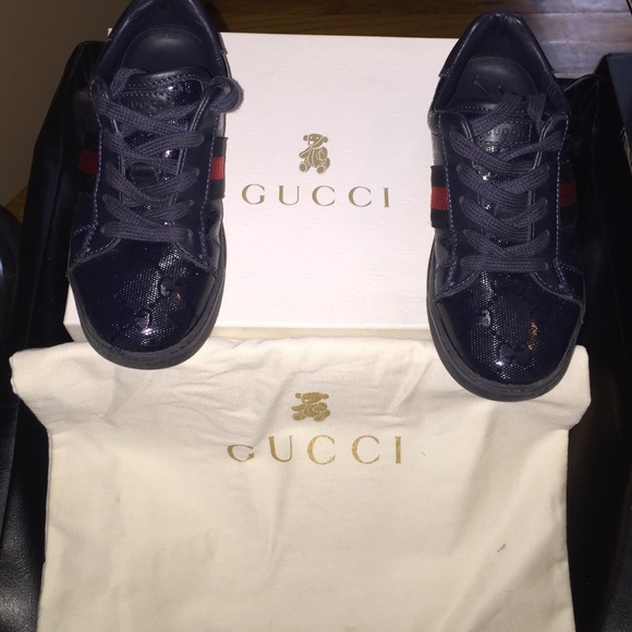 90d82ed1628 Gucci Other - Gucci Kids navy blue leather lace up sneakers