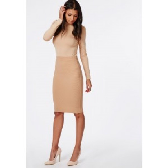 Missguided - Ribbed Nude Midi Skirt from Kathy's closet on Poshmark