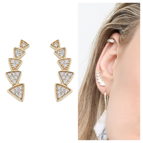 Rebecca Minkoff Pave Triangle Ear Climber in Metallic Gold Vy7njCcE