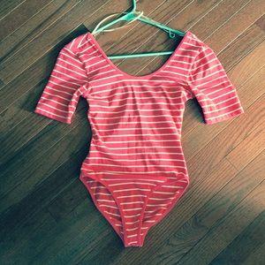Coral striped bodysuit
