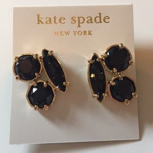 NEW kate spade Black Crystal Cluster Earrings!