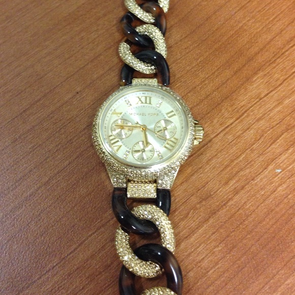 7a10476868ae Michael Kors Camille Tortoise Pave Chain Watch. M 553d6ca87fab3a37a000e127