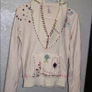Free people hoody sweater rare ivory crochet xs