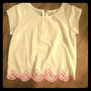 White and pink embroidered top