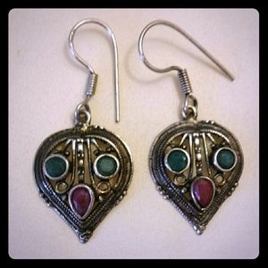 Jewelry - Silver Earring with Ruby and Emerald Quartz Stones