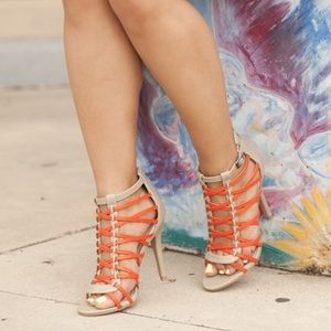 Taupe & Orange Strappy Cut-out Heels