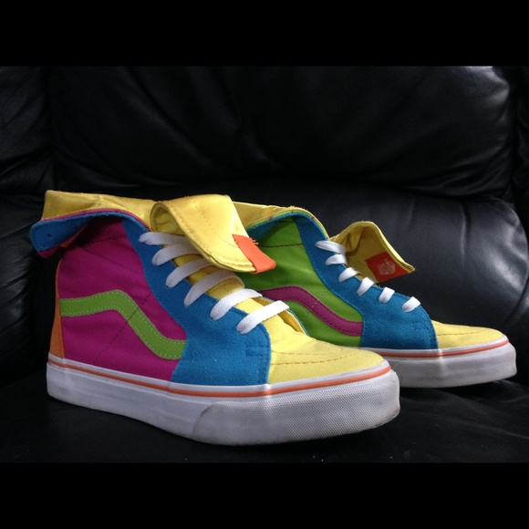 Vans Shoes Bright Colorful Hightop Sneakers Poshmark