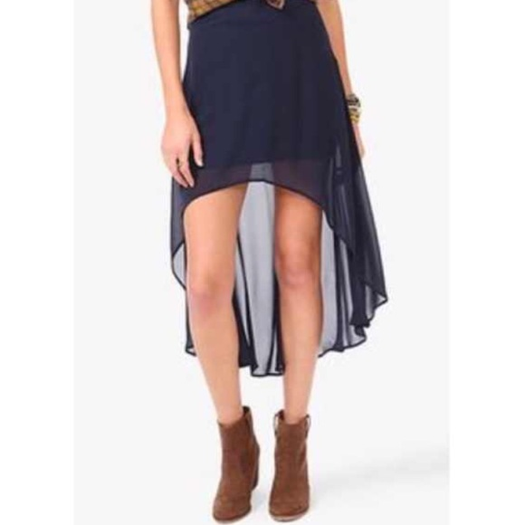 12 forever 21 dresses skirts navy blue high low