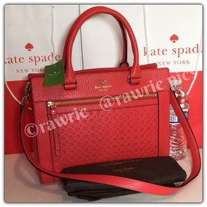New Kate Spade perforated romy leather Satchel