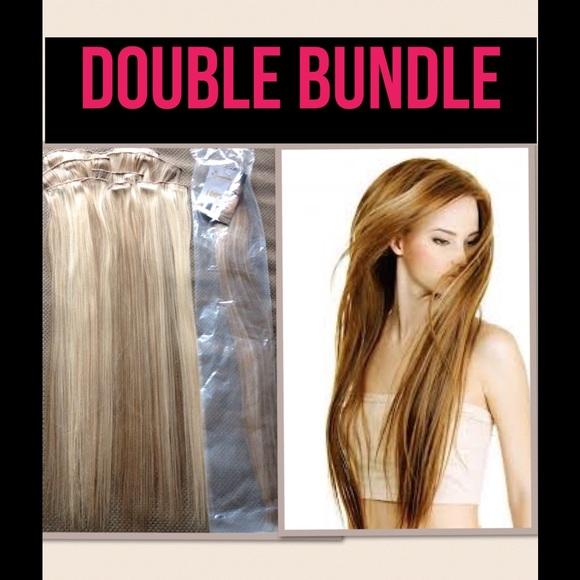 Queentas Accessories Bundle Of 2 Full Head Hair Extensions Blonde
