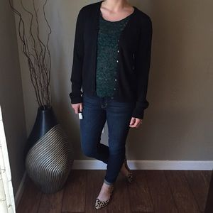Black Metallic Silk Blend Cardigan