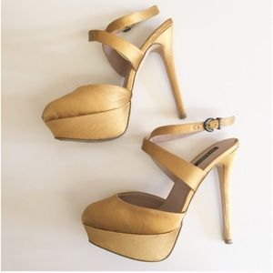 SHOEMINT Sadie Yellow Satin Heels
