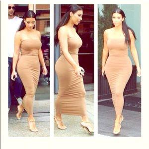 719651cfb0a9 Boohoo Dresses   Kim K Nude Ribbed Dress   Poshmark