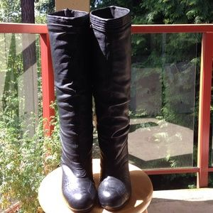 Diesel Black Leather Knee High Boot size 6