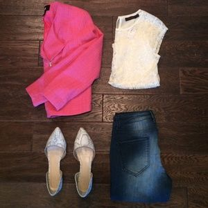 Pink Twill Moto Jacket Y5