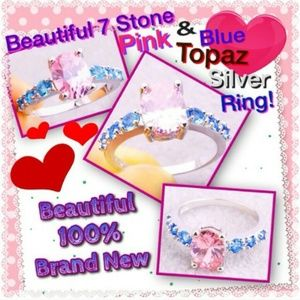 Unknown Jewelry - Beautiful Classic Pink & Blue & White Topaz Ring
