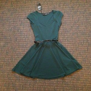 Boohoo dark green skater dress size 4