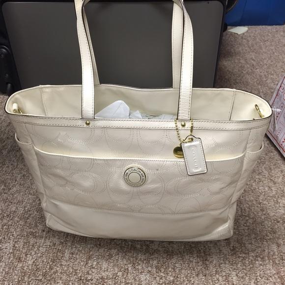 coach bags white patent leather diaper bag poshmark rh poshmark com