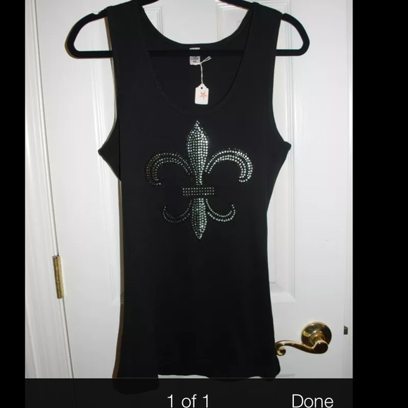 47 off hoi tops fleur de lis bling ribbed tank top new for Do gucci shirts run small