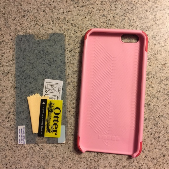 best service 44410 a46ee Pink iPhone 6 plus case, otterbox screen protector